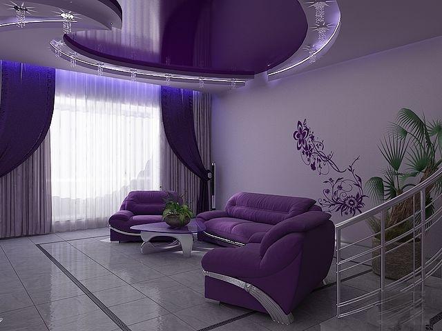 Фото интерьера с сиреневым потолком
