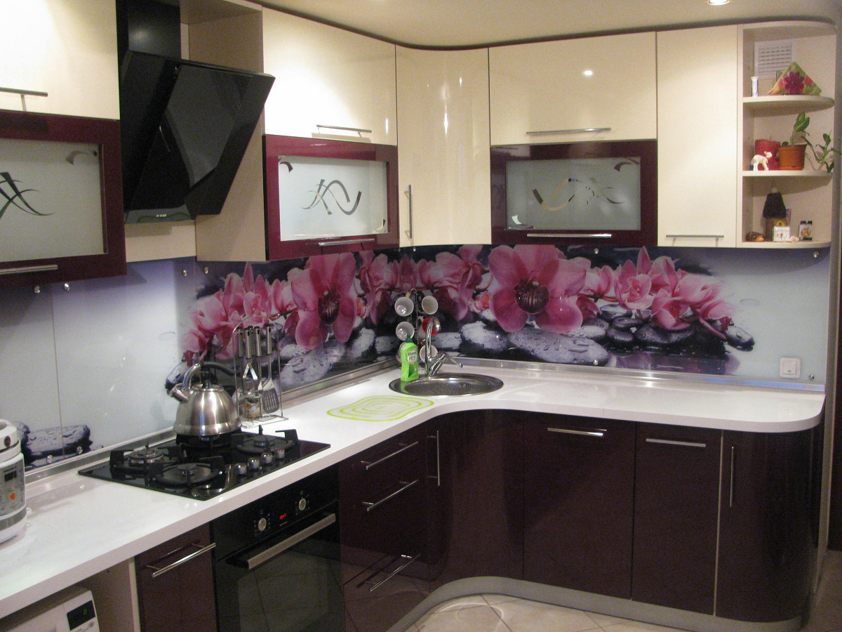 бело-бордовая кухня фото